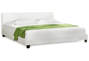 "Betten kaufen Corium® Polsterbett ""Barcelona"" [140 x 200cm][weiss]- mit PU-Leder / Kunstlederbezug / Modern / mit Stecklattenrost /"