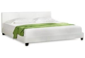"Betten kaufen Corium® Polsterbett ""Barcelona"" [140 x 200cm][weiss]- mit PU-Leder / Kunstlederbezug / Modern / mit Stecklattenrost"