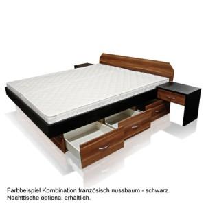 Wasserbett SONDERAKTION bellvita Mesamoll II mit Schubladensockel in Komforthöhe und Bettumrandung französisch Nussbaum mit schwarz kombiniert, mit Aufbau
